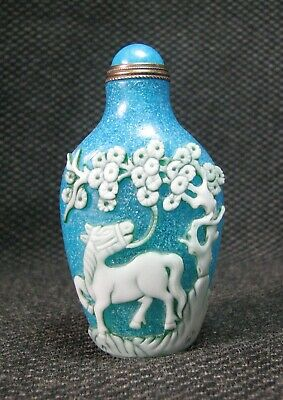 Chinese Delicate Carve Pine And Horse Design Glass Snuff Bottle--***