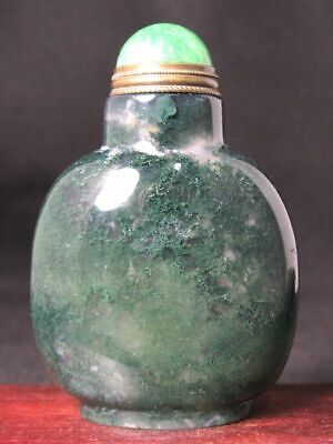 Chinese Handmade Carved Natural Green Moss Agate Snuff Bottle