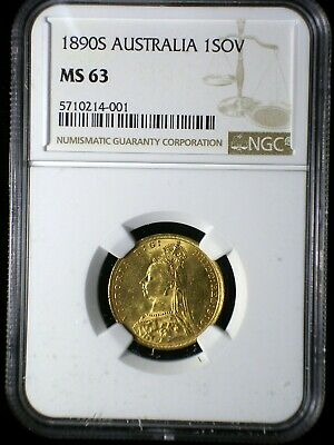 Australia 1890 S Gold Sovereign *NGC MS-63* Sharp Lustrous Only 5 Graded Higher