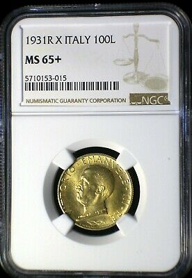 Kingdom of Italy 1931 X Gold 100 Lira *NGC MS-65+* >Tops Pops< Finest Known