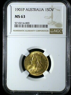 Australia 1901 P Gold Sovereign *NGC MS-63* Sharp Lustrous Only 5 Graded Higher