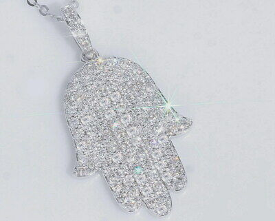 1Ct Natural Diamond 10K White Gold Cluster Necklace EFFECT 2Ct PWG123