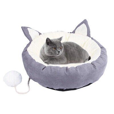 Puppy Cat Pets Soft Washable Bed Warm Cosy Round Cushion Grey L TRAVEL BASKET UK