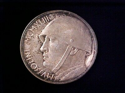 Italy 20 Lire Silver Plated Fantasy 1928-1943 Mussolini Toned
