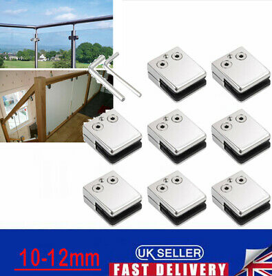 8X Glass Clamp Stainless Steel 304 Clip Flat Bracket For Balustrade 10-12MM Set