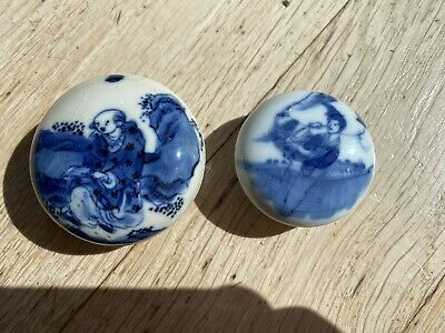2 very rare 19th century Chinese crackle glazed blue and white ink box