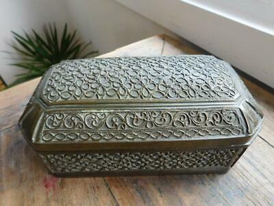 Heavy Middle East Indian Asian Persian Spice Utility Box 1800s Filigree Overlay
