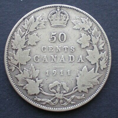 1911 Canada 50 cents George V .925 Silver  - Low Mintage - Semi key date