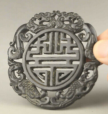 Chinese old natural jade hand-carved statue dragon phoenix pendant 2.7 inch
