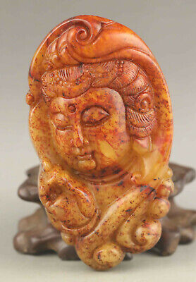 Chinese old natural jade hand-carved statue buddha pendant 3.3 inch