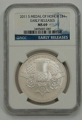 2011 S - Medal of Honor Commemorative Silver Dollar - NGC MS 69 Early Releases