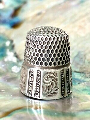 Antique Sterling Silver 7 Thimble Stern Bros. Beautiful Panel/Feather Design