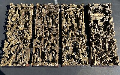 Set of 4 nice 19th century Chinese carved gilt wood panels