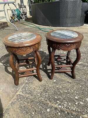 A nice pair of 19th century Chinese marble hard wood seats