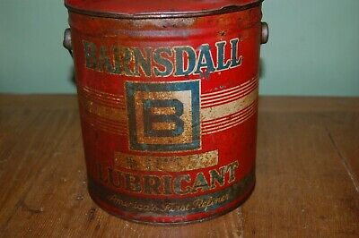 rare BARNSDALL LUBRICANT grease can 10 lbs, 8 inches tall, gas & oil related
