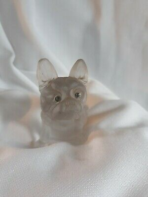 Antique Czech Frosted Glass French Bulldog Dog Figurine Diamante Eyes