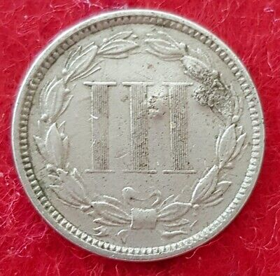 United States 1865 3 Cents Nickel Some Field Damage