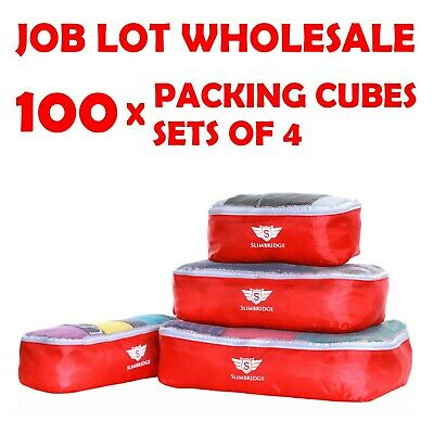 Job Lot Wholesale 100 x Sets of 4 Packing Luggage Cubes Travel Organisers Bags