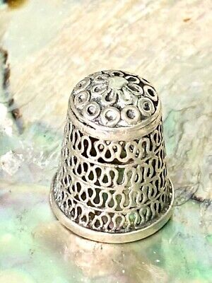 Stunning Sterling Silver 925 Filigree Thimble Flower Design Top