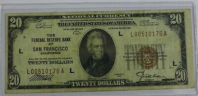 1929 $20 SAN FRANCISCO (L) FEDERAL RESERVE BANK NOTES Brown Seal - Fine