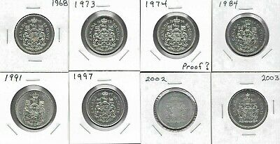Canada Canadian 50 Cent Coins 1968 - 2003 - Lot Of 8 - All High Grade Coins