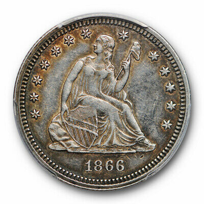 1866 25C Seated Liberty Quarter PCGS XF 40 Extra Fine Key Date Low Mintage