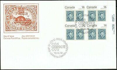 Canada sc#754 Capex '78, Stamp on Stamp: 10d Jacques Cartier, UR Block, FDC