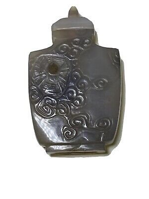 Antique Chinese Carved Spider Grey Jade Snuff Bottle