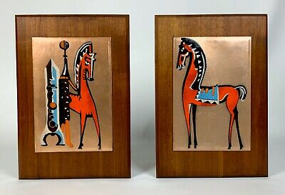 Vintage Pair Mid Century Modern Enameled Copper Abstract Horse Wall Art