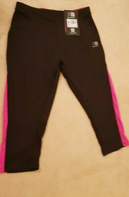 LADIES KARRIMOR RUN CAPRI BLACK/PINK  BOTTOMS  12 new with tags  cost 39.99