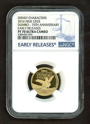 2016 Niue Disney DUMBO 75th Ann. G$25 Early Releases GOLD 1/4oz NGC PF70 UCAM