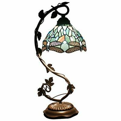 Lamps Stained Glass Reading Lamp Crystal Bead Sea Blue Dragonfly Style Shade