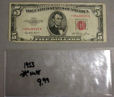 1953 Series $5 Red Seal Star Note   #M539