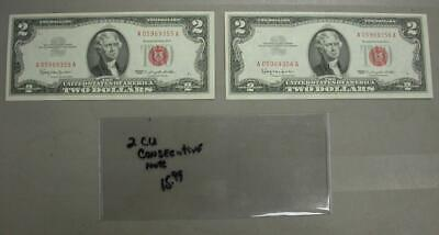 Two Dollar Red Seal Lot W/ (2 Crisp Uncirculated Notes) Consecutive Serial -M561