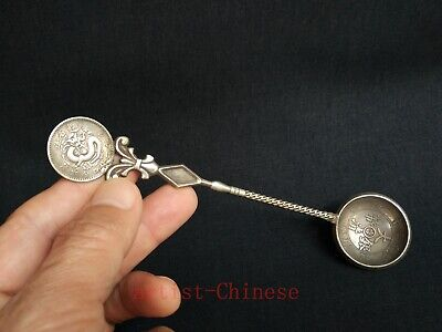 Rare Collection Old China Tibet Silver Dragon Coin Manufacture Copper Spoon