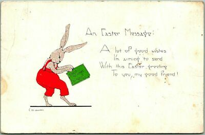 "Vintage 1910s Artist-Signed E. WEAVER Postcard ""An Easter Message"" Bunny Rabbit"