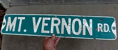 """Vintage Authentic Mt. Vernon Road Street Name Embossed Metal Sign  30"""" X 6"""""""