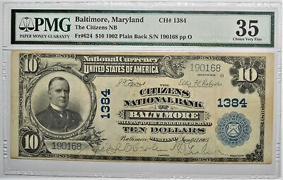 1902 $10 Citizens National Bank Of Baltimore Maryland Fr 624 Pmg 35 Choice Vf