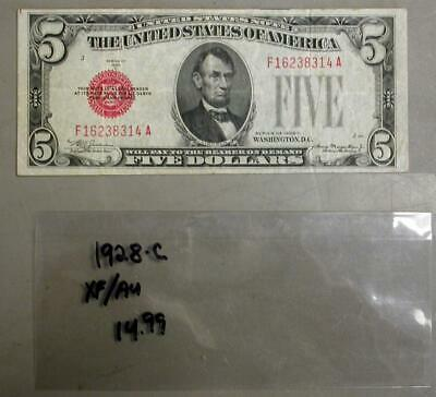 1928-C Series $5 XF/AU Red Seal Note   #M538