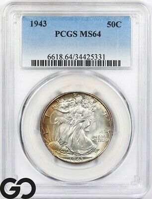 1943 MS64 Walking Liberty Half Dollar PCGS Mint State 64 ** Very Nice!