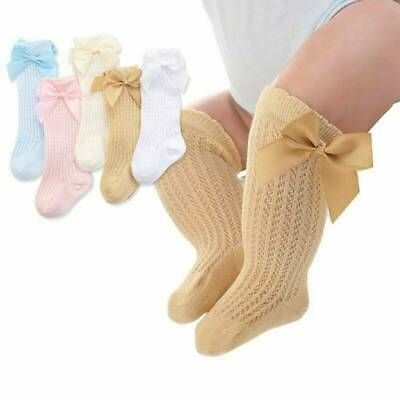 Toddler Baby Girls Knee High Long Socks Bow Cotton Casual Stockings 0-3 Year US~
