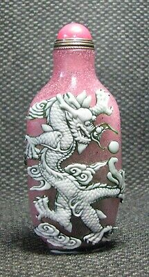 Chinese Exquisite Carve Dragon Phoenix Glass Snuff Bottle