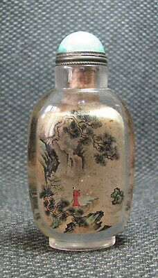 Chinese Exquisite Inside-drawing Scenery And People Glass Snuff Bottle