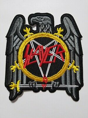Slayer eagle Logo  embroidered  IRON ON , OR SEW  PATCH