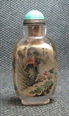 Chinese Exquisite Inside-drawing Landscape And People Glass Snuff Bottle