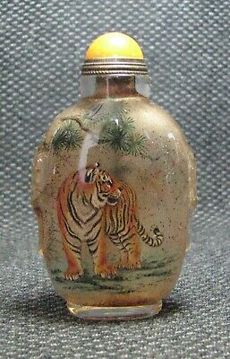 Chinese Exquisite Inside-drawing Tiger Glass Snuff Bottle