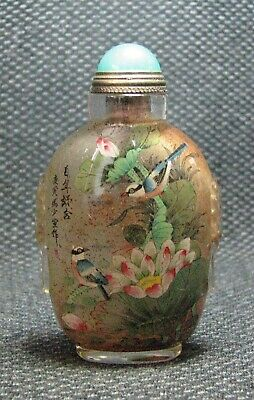 Chinese Exquisite Inside-drawing Birds And Lotus leaves Glass Snuff Bottle
