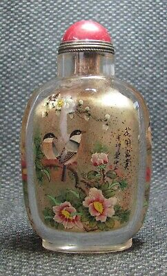 Chinese Exquisite Inside-drawing Hua Kai Fu Gui Glass Snuff Bottle