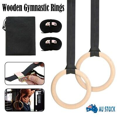 New Wooden Gymnastic Olympic Rings Crossfit Gym Fitness Strength Training Ring