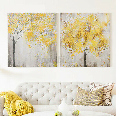 2Pcs 30x30cm Yellow Flower Trees Canvas Printing Art Picture Set Blossom Wall